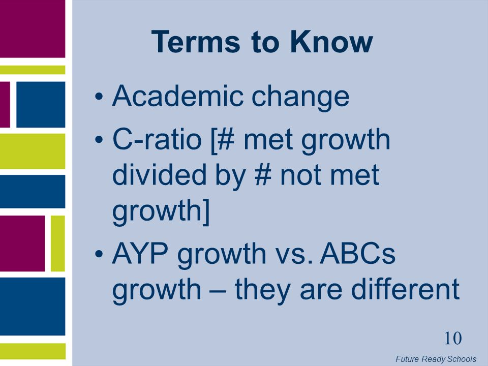 Future Ready Schools 10 Terms to Know Academic change C-ratio [# met growth divided by # not met growth] AYP growth vs.