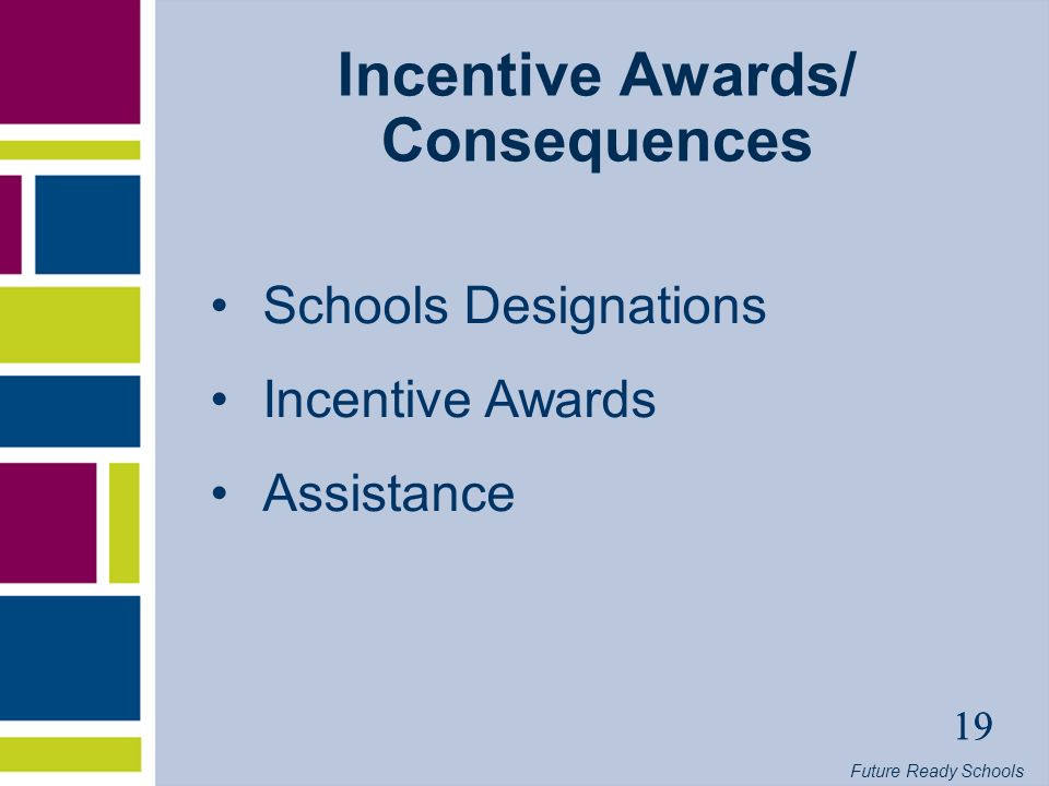 Future Ready Schools 19 Incentive Awards/ Consequences Schools Designations Incentive Awards Assistance 19