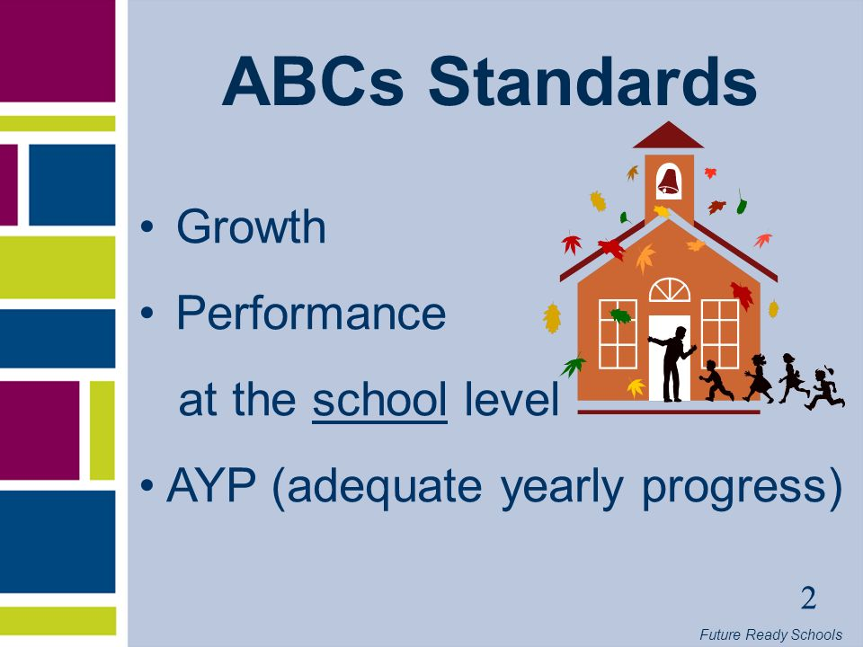 Future Ready Schools 3 ABCs in the 21st Century Comprehensive review of ABCs during 2004-05 New growth formulas developed as a result 2005-06 – Major transitions and major interactions with US Department of Education (USED)