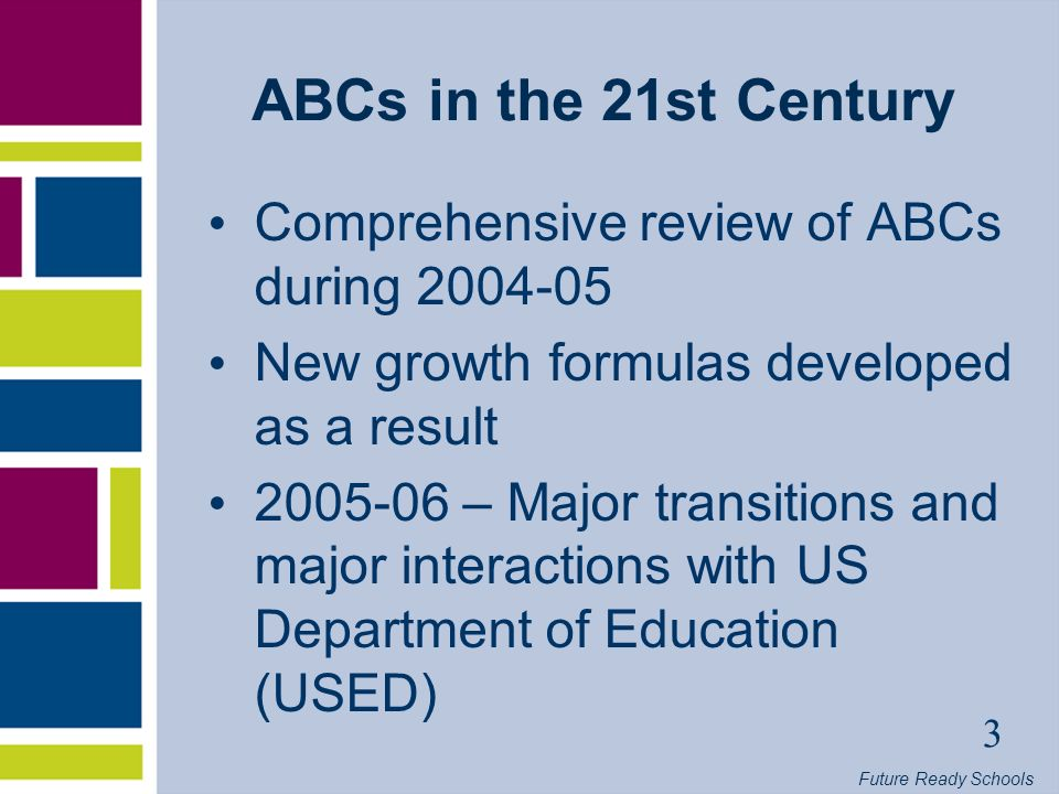 Future Ready Schools 4 ABCs - 2007 Key Points 2 nd year of new growth formulas Continued focus on student achievement, school-level performance Comparisons across years not always apples to apples