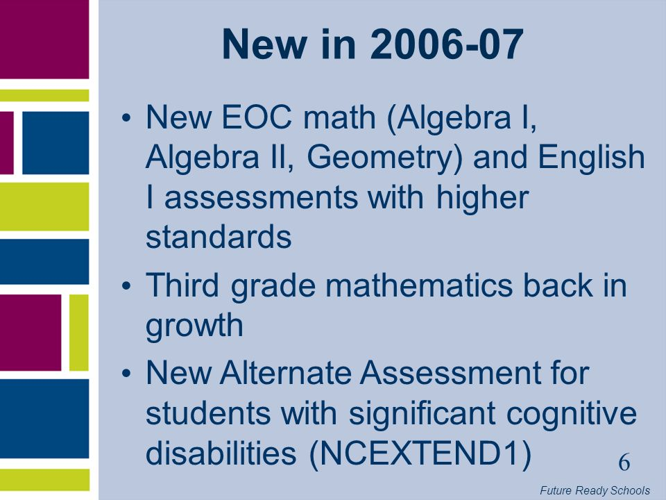 Future Ready Schools 7 ABCs in 2006-07 (Growth) EOG growth in Grades 3-8 EOC growth College University Prep/College Tech Prep (CUP/CTP) Competency Test Passing Rate ABCs Dropout Rate