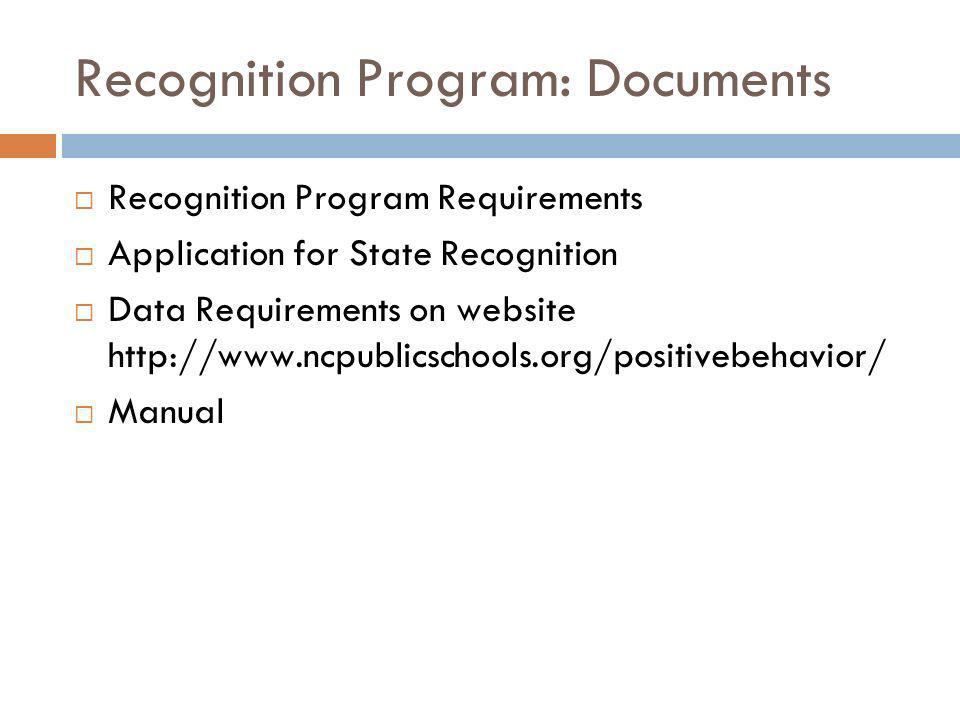 Recognition Program: Documents Recognition Program Requirements Application for State Recognition Data Requirements on website http://www.ncpublicscho