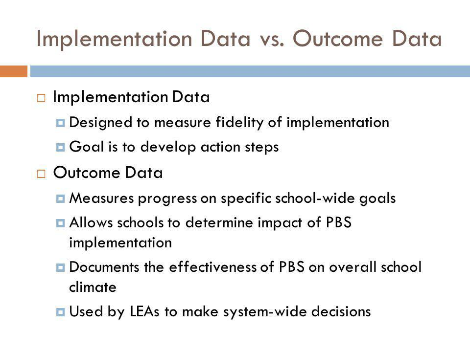 Implementation Data vs. Outcome Data Implementation Data Designed to measure fidelity of implementation Goal is to develop action steps Outcome Data M