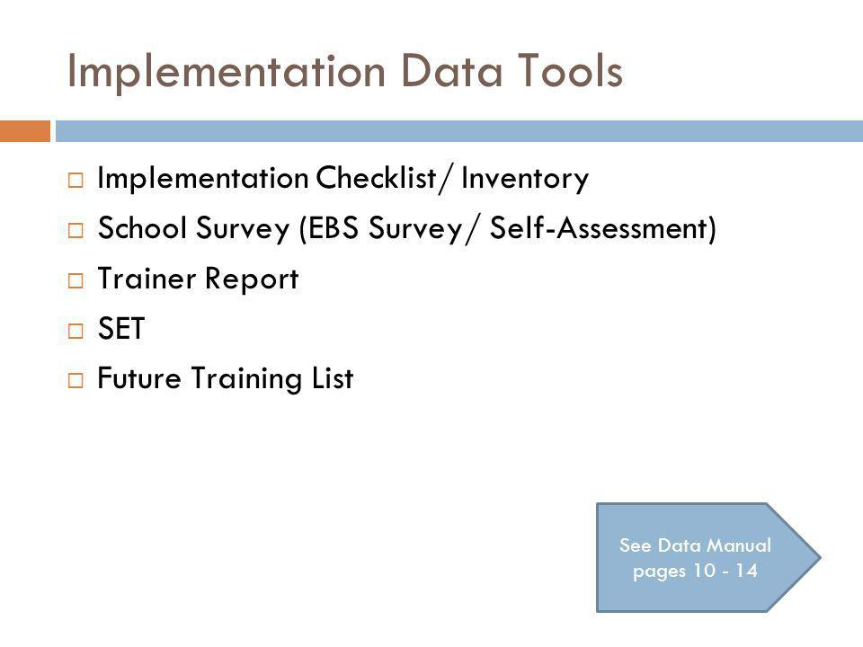 Implementation Data Tools Implementation Checklist/ Inventory School Survey (EBS Survey/ Self-Assessment) Trainer Report SET Future Training List See