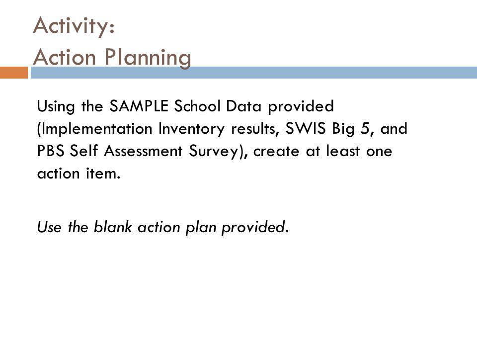 Activity: Action Planning Using the SAMPLE School Data provided (Implementation Inventory results, SWIS Big 5, and PBS Self Assessment Survey), create