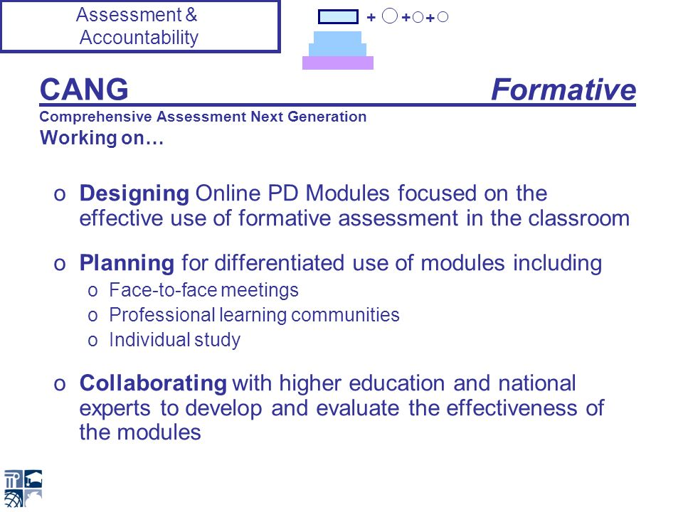 + + + CANG Formative Comprehensive Assessment Next Generation oDesigning Online PD Modules focused on the effective use of formative assessment in the classroom oPlanning for differentiated use of modules including oFace-to-face meetings oProfessional learning communities oIndividual study oCollaborating with higher education and national experts to develop and evaluate the effectiveness of the modules Assessment & Accountability Working on…