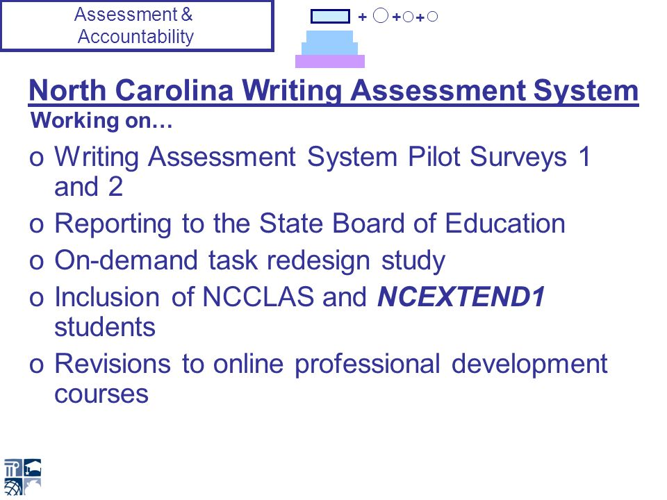 + + + North Carolina Writing Assessment System oWriting Assessment System Pilot Surveys 1 and 2 oReporting to the State Board of Education oOn-demand task redesign study oInclusion of NCCLAS and NCEXTEND1 students oRevisions to online professional development courses Working on… Assessment & Accountability