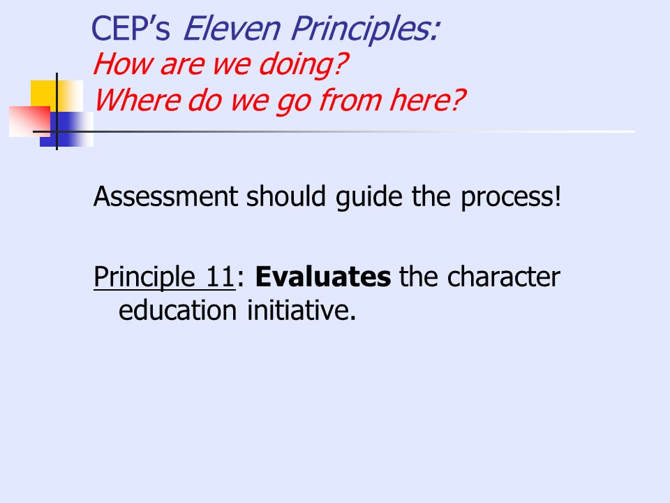 CEPs Eleven Principles: How are we doing? Where do we go from here? Assessment should guide the process! Principle 11: Evaluates the character educati