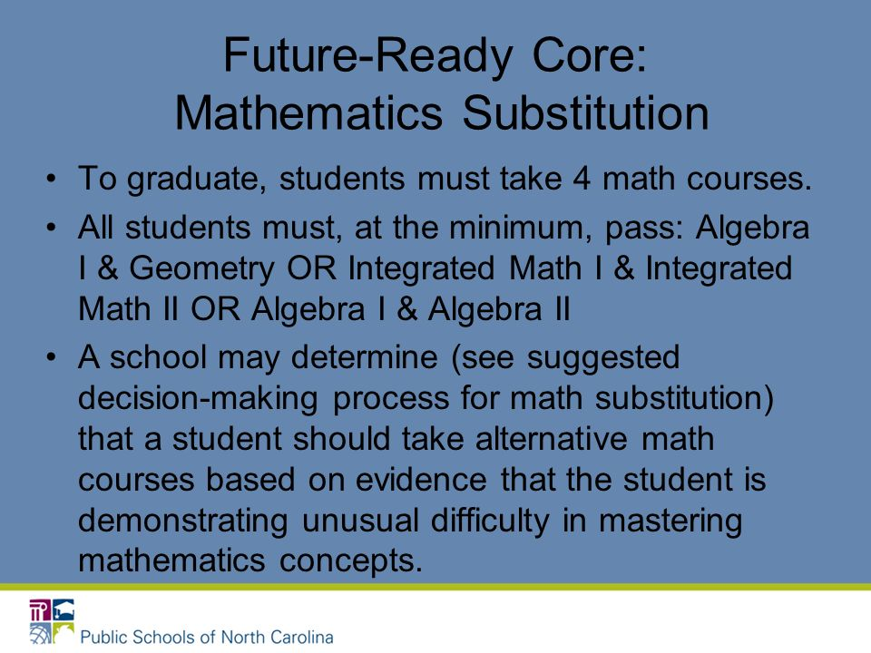 Future-Ready Core: Mathematics Substitution To graduate, students must take 4 math courses.