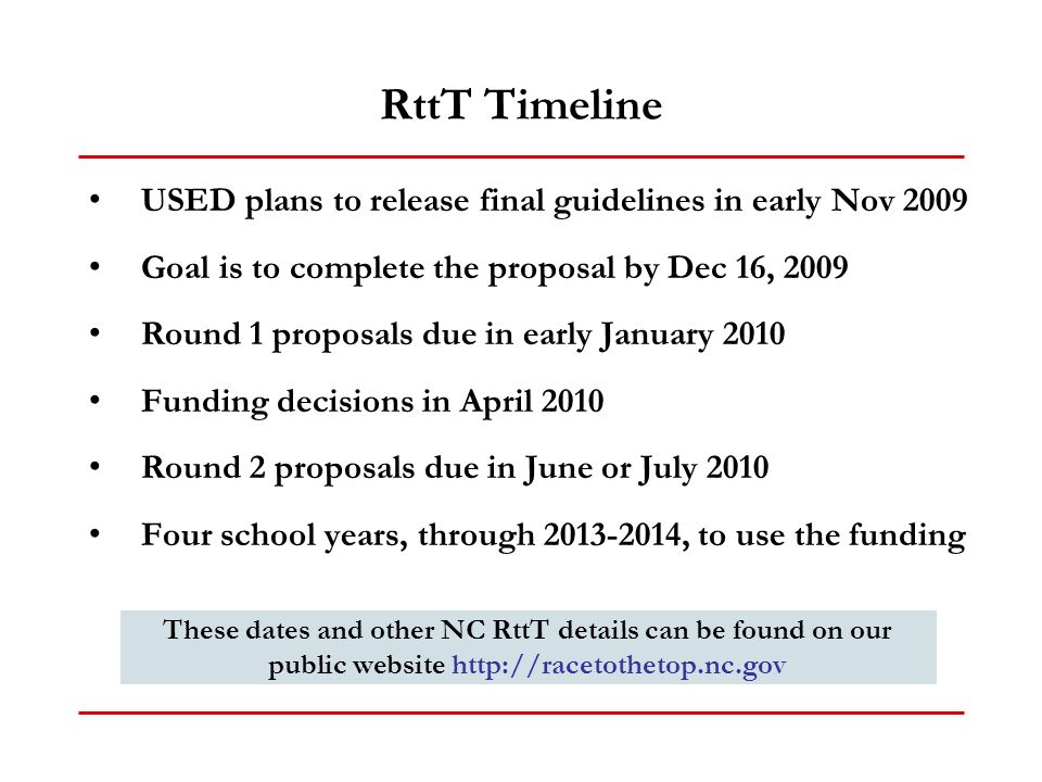 RttT Timeline USED plans to release final guidelines in early Nov 2009 Goal is to complete the proposal by Dec 16, 2009 Round 1 proposals due in early January 2010 Funding decisions in April 2010 Round 2 proposals due in June or July 2010 Four school years, through , to use the funding These dates and other NC RttT details can be found on our public website