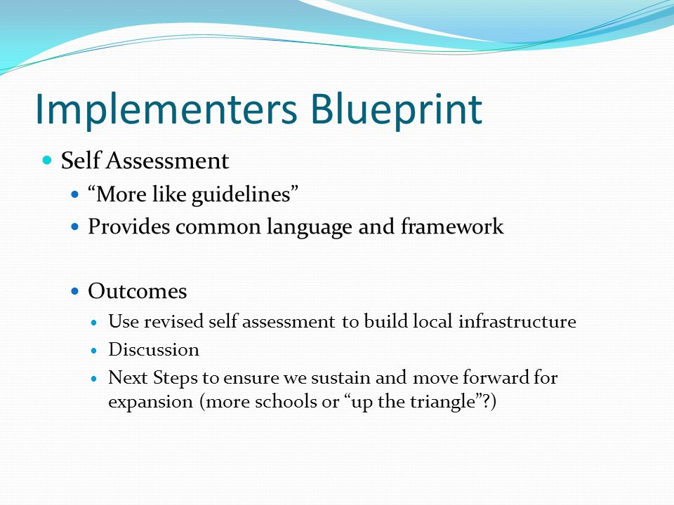 Implementers Blueprint Self Assessment More like guidelines Provides common language and framework Outcomes Use revised self assessment to build local infrastructure Discussion Next Steps to ensure we sustain and move forward for expansion (more schools or up the triangle )