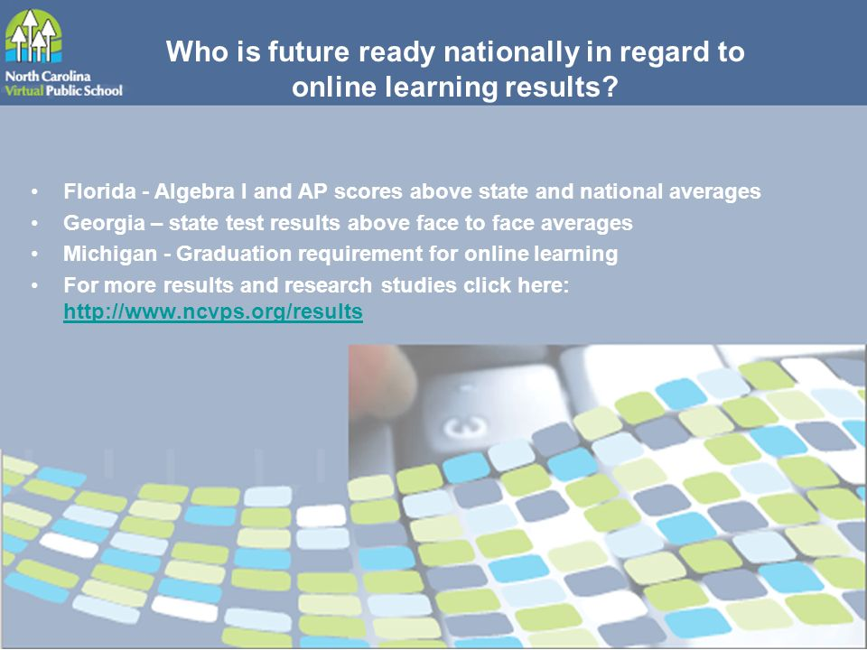 Who is future ready nationally in regard to online learning results.