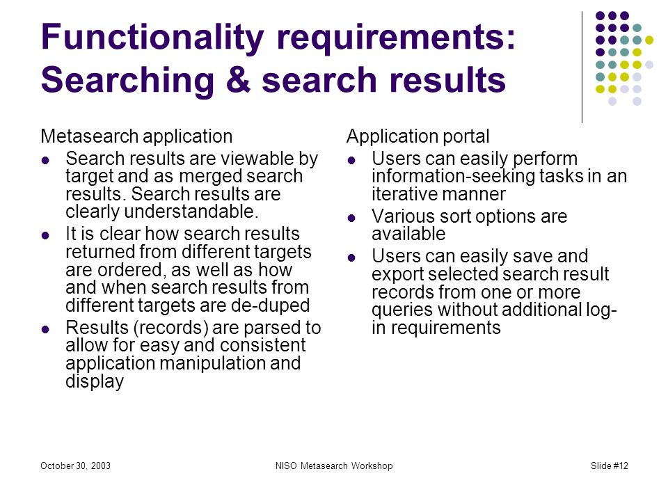 October 30, 2003NISO Metasearch WorkshopSlide #12 Functionality requirements: Searching & search results Metasearch application Search results are viewable by target and as merged search results.
