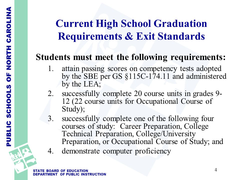 PUBLIC SCHOOLS OF NORTH CAROLINA STATE BOARD OF EDUCATION DEPARTMENT OF PUBLIC INSTRUCTION Current High School Graduation Requirements & Exit Standards Students must meet the following requirements: 1.attain passing scores on competency tests adopted by the SBE per GS §115C-174.11 and administered by the LEA; 2.successfully complete 20 course units in grades 9- 12 (22 course units for Occupational Course of Study); 3.successfully complete one of the following four courses of study: Career Preparation, College Technical Preparation, College/University Preparation, or Occupational Course of Study; and 4.demonstrate computer proficiency 4