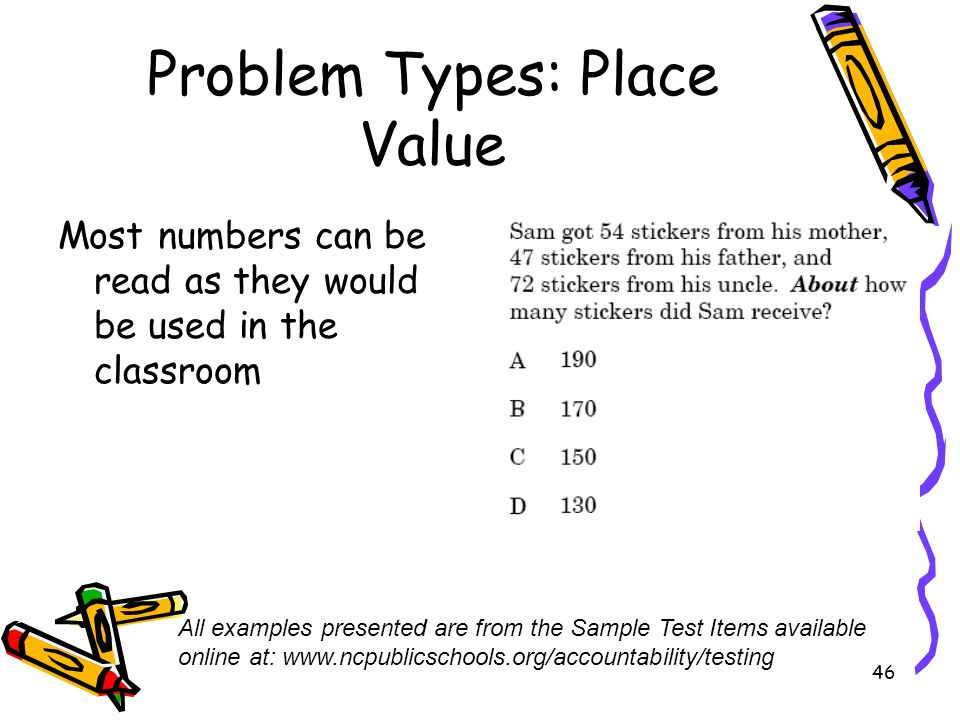 46 Problem Types: Place Value Most numbers can be read as they would be used in the classroom All examples presented are from the Sample Test Items available online at: www.ncpublicschools.org/accountability/testing