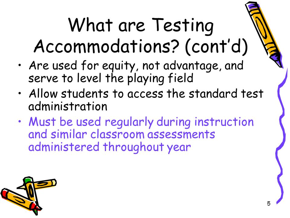 6 Activity Testing Accommodations: Whats Allowable and Whats Not Decide for each accommodation –Is it a valid accommodation for reading.
