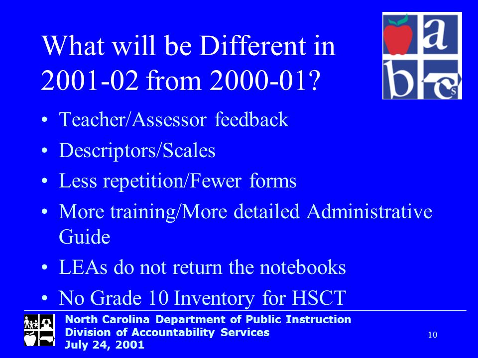North Carolina Department of Public Instruction Division of Accountability Services July 24, What will be Different in from