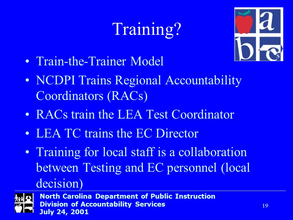 North Carolina Department of Public Instruction Division of Accountability Services July 24, 2001 19 Training? Train-the-Trainer Model NCDPI Trains Re