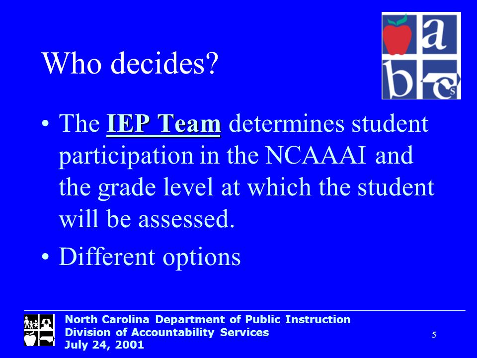 North Carolina Department of Public Instruction Division of Accountability Services July 24, 2001 5 Who decides? IEP TeamThe IEP Team determines stude