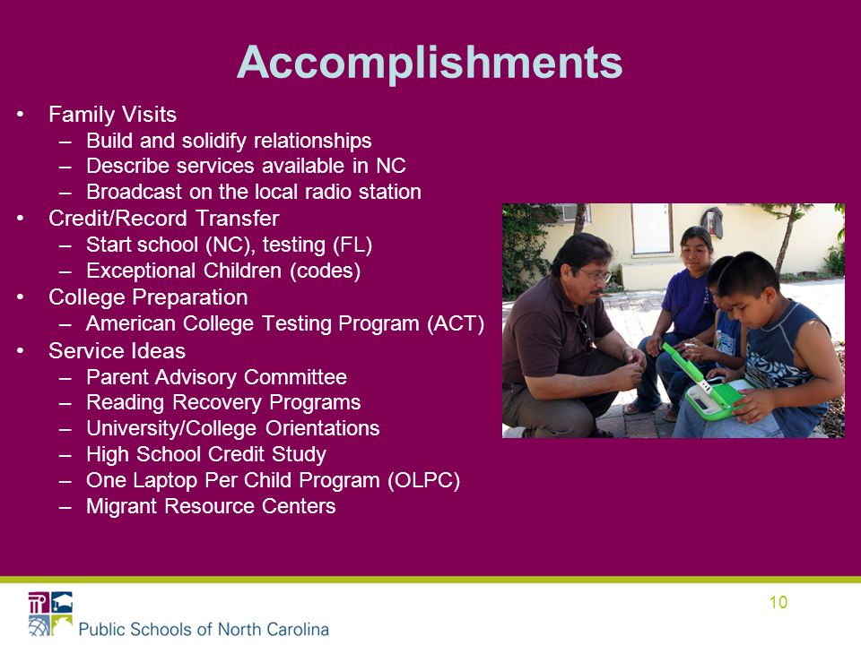 10 Accomplishments Family Visits –Build and solidify relationships –Describe services available in NC –Broadcast on the local radio station Credit/Rec