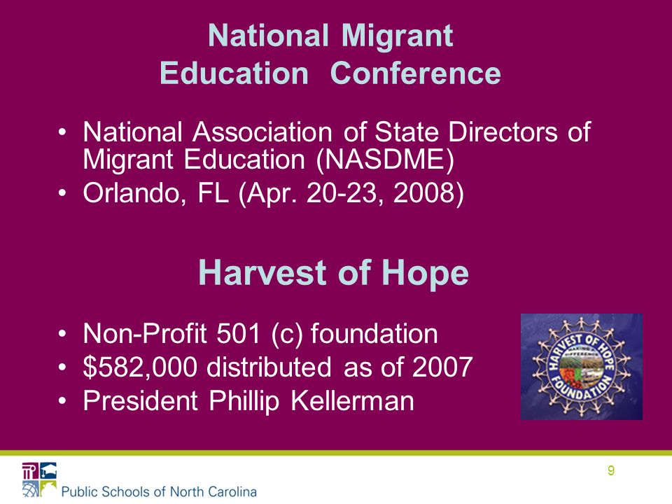 9 National Migrant Education Conference National Association of State Directors of Migrant Education (NASDME) Orlando, FL (Apr.
