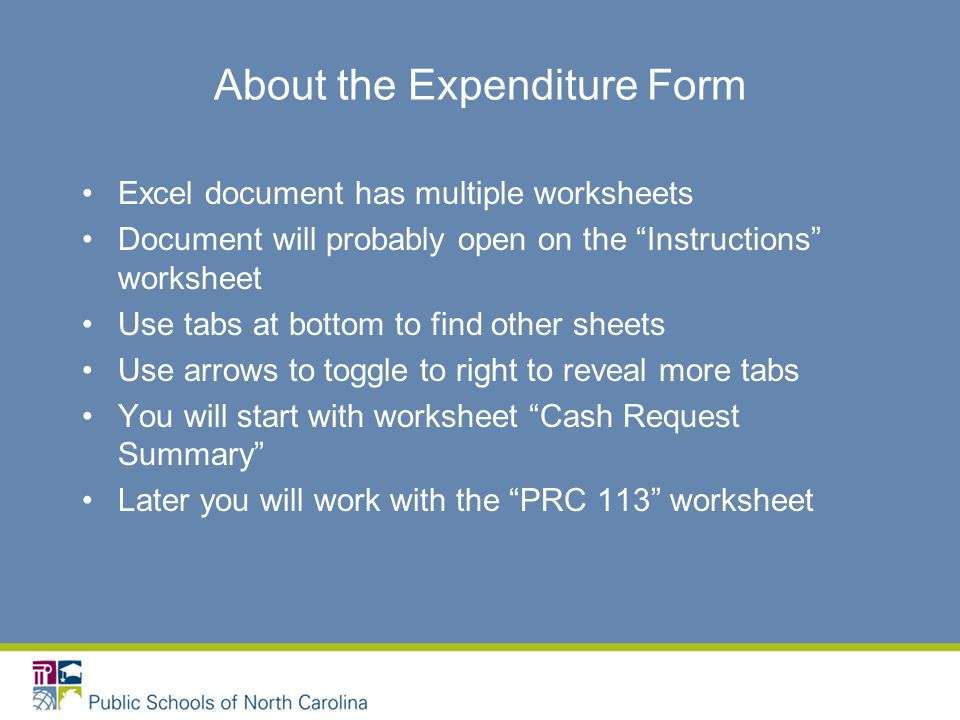 About the Expenditure Form Excel document has multiple worksheets Document will probably open on the Instructions worksheet Use tabs at bottom to find