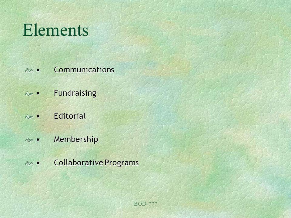 BOD-777 Elements CommunicationsCommunications FundraisingFundraising EditorialEditorial MembershipMembership Collaborative ProgramsCollaborative Programs
