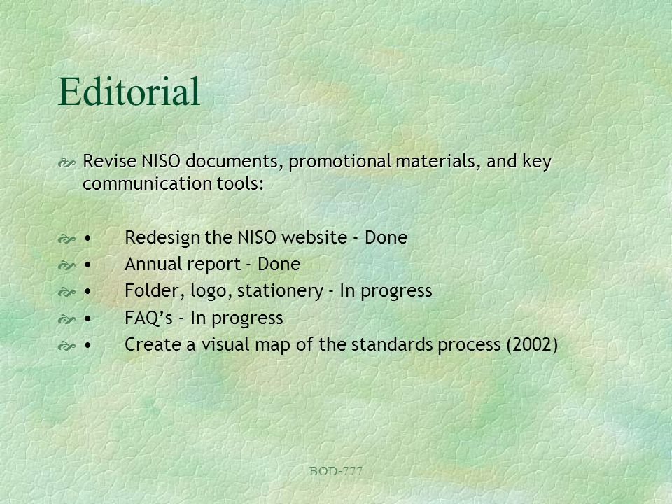 BOD-777 Editorial Revise NISO documents, promotional materials, and key communication tools: Revise NISO documents, promotional materials, and key com