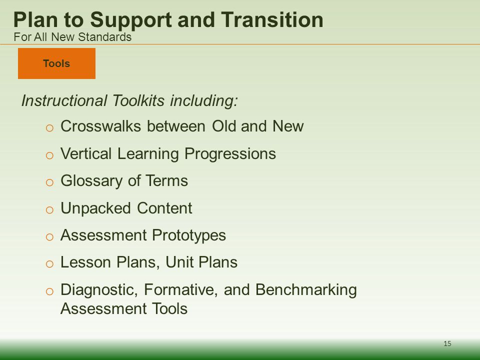Plan to Support and Transition Instructional Toolkits including: o Crosswalks between Old and New o Vertical Learning Progressions o Glossary of Terms o Unpacked Content o Assessment Prototypes o Lesson Plans, Unit Plans o Diagnostic, Formative, and Benchmarking Assessment Tools Tools For All New Standards 15