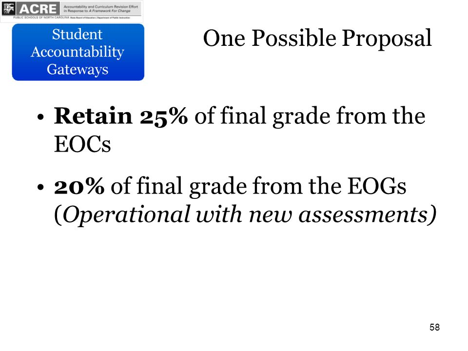 58 One Possible Proposal Retain 25% of final grade from the EOCs 20% of final grade from the EOGs (Operational with new assessments)