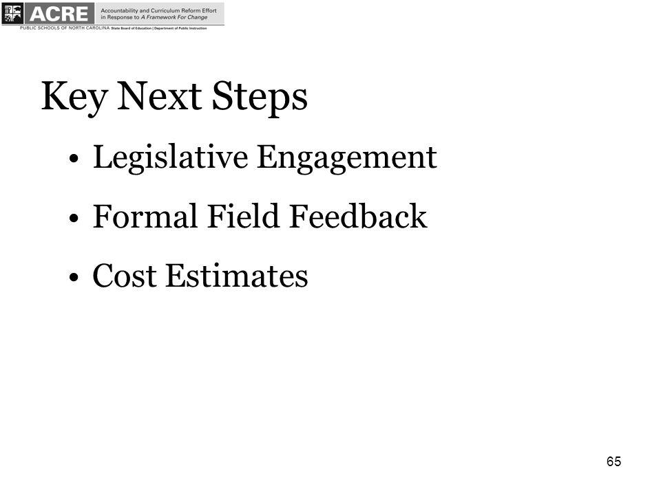 65 Key Next Steps Legislative Engagement Formal Field Feedback Cost Estimates