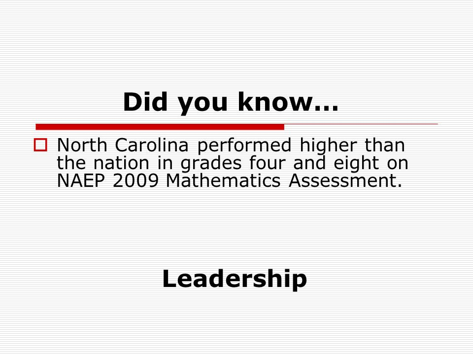 Did you know… North Carolina performed higher than the nation in grades four and eight on NAEP 2009 Mathematics Assessment.