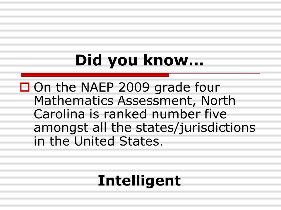 Did you know… On the NAEP 2009 grade four Mathematics Assessment, North Carolina is ranked number five amongst all the states/jurisdictions in the United States.