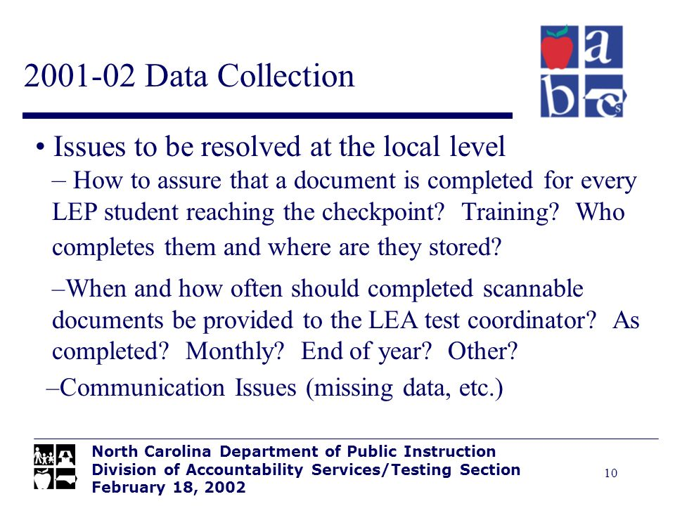 10 2001-02 Data Collection North Carolina Department of Public Instruction Division of Accountability Services/Testing Section February 18, 2002 Issue