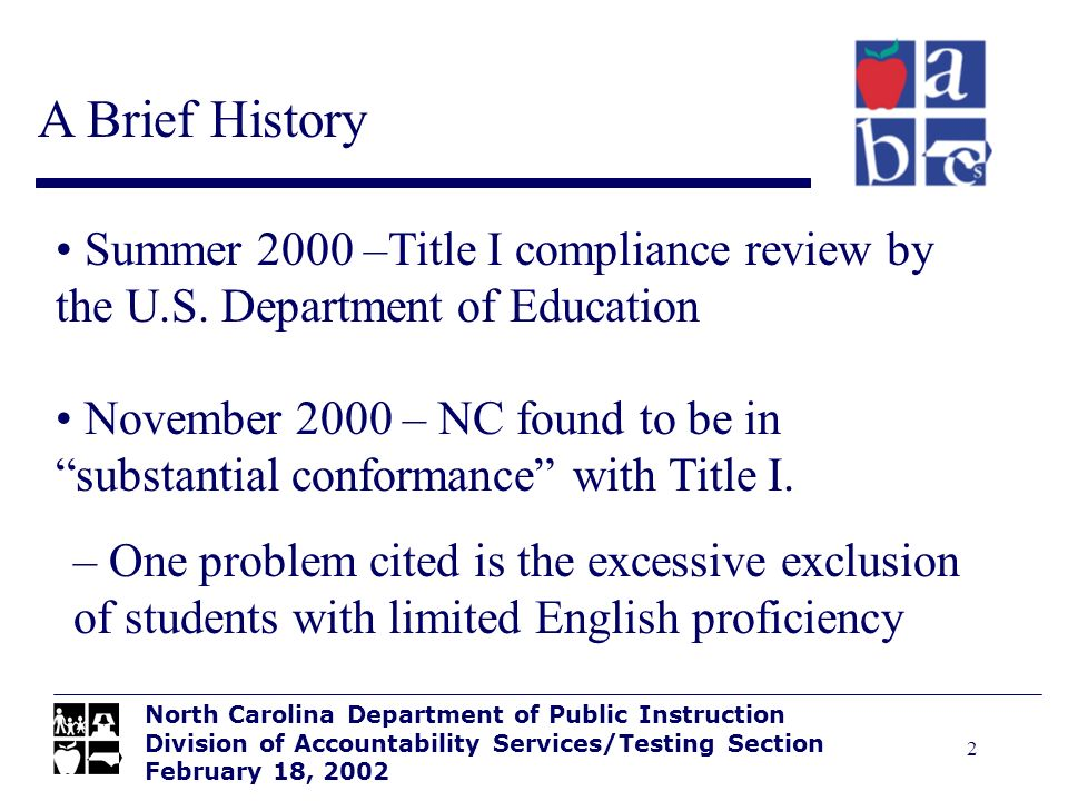 2 Summer 2000 –Title I compliance review by the U.S.