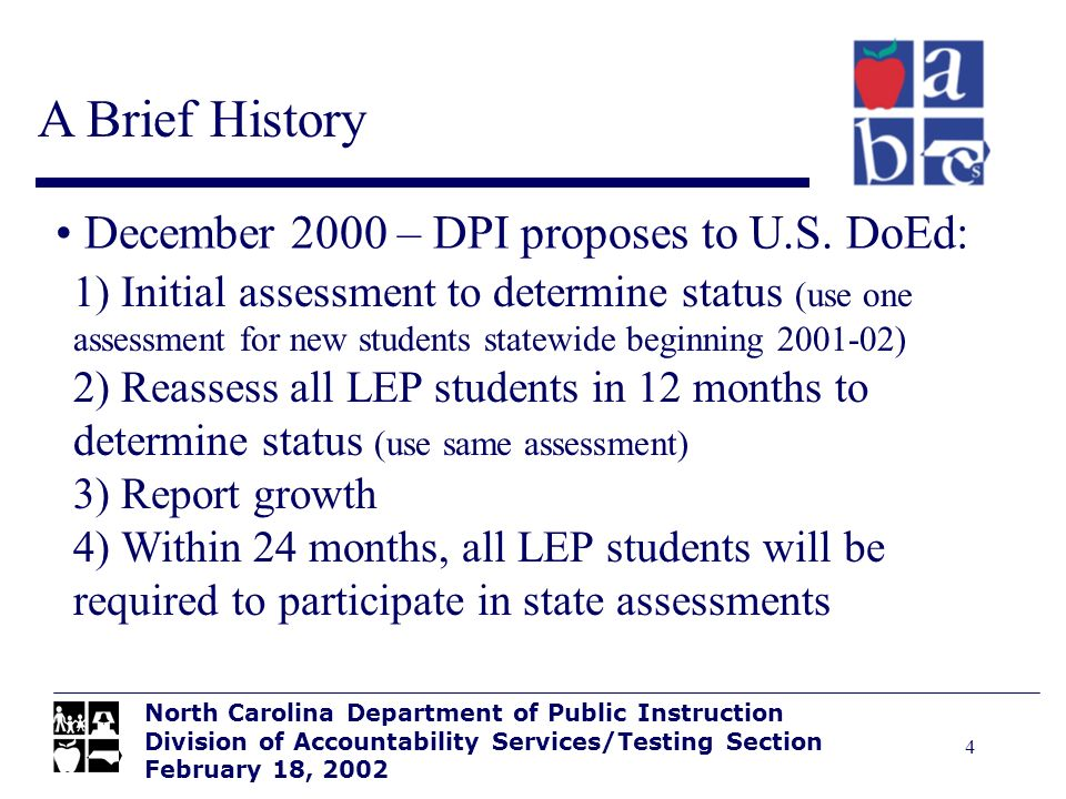 4 A Brief History North Carolina Department of Public Instruction Division of Accountability Services/Testing Section February 18, 2002 December 2000 – DPI proposes to U.S.