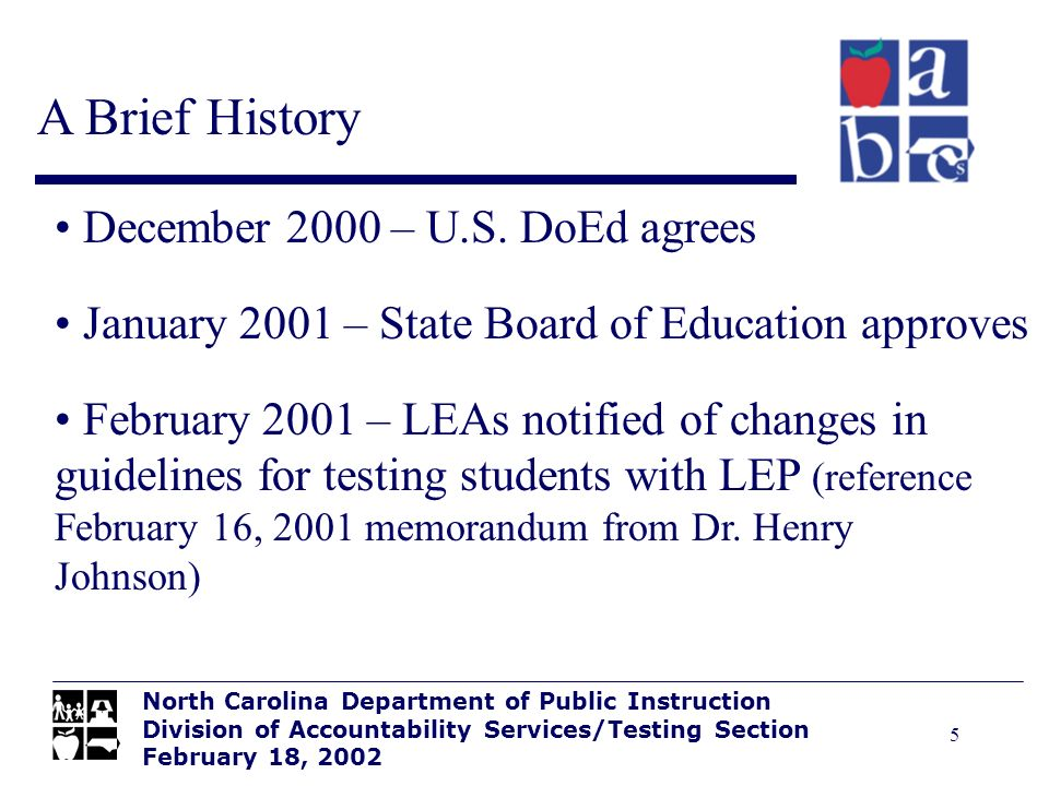 5 A Brief History North Carolina Department of Public Instruction Division of Accountability Services/Testing Section February 18, 2002 December 2000 – U.S.