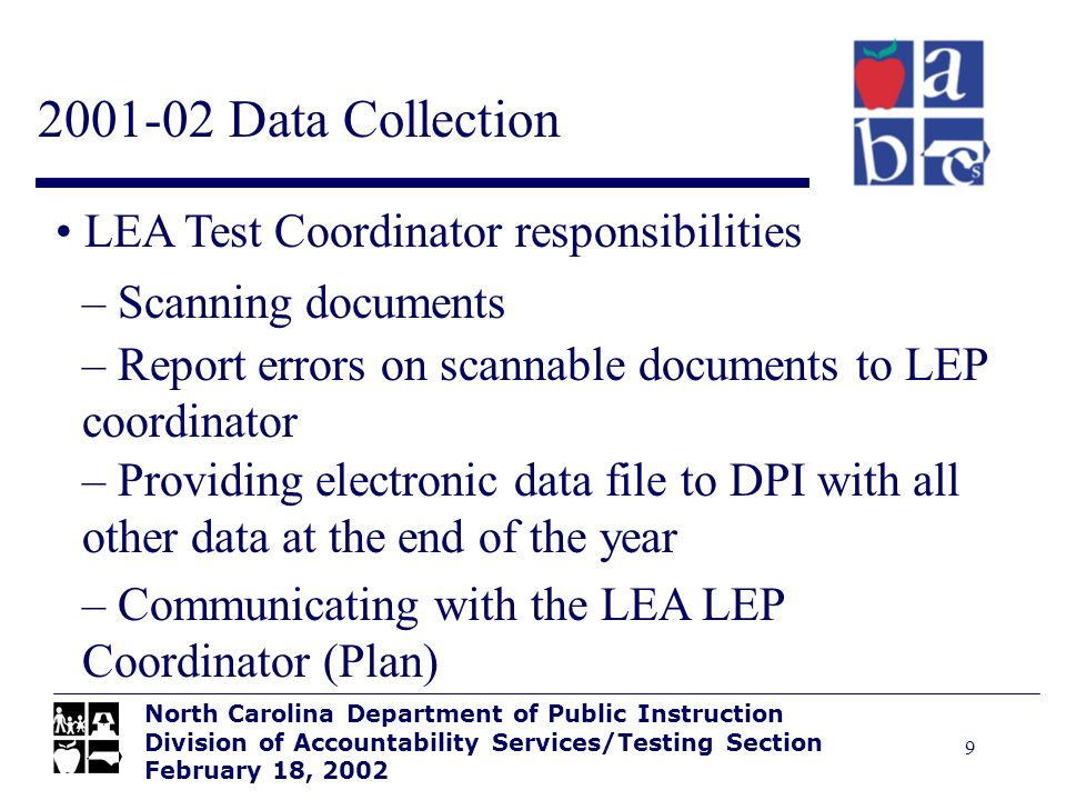 9 2001-02 Data Collection North Carolina Department of Public Instruction Division of Accountability Services/Testing Section February 18, 2002 LEA Te