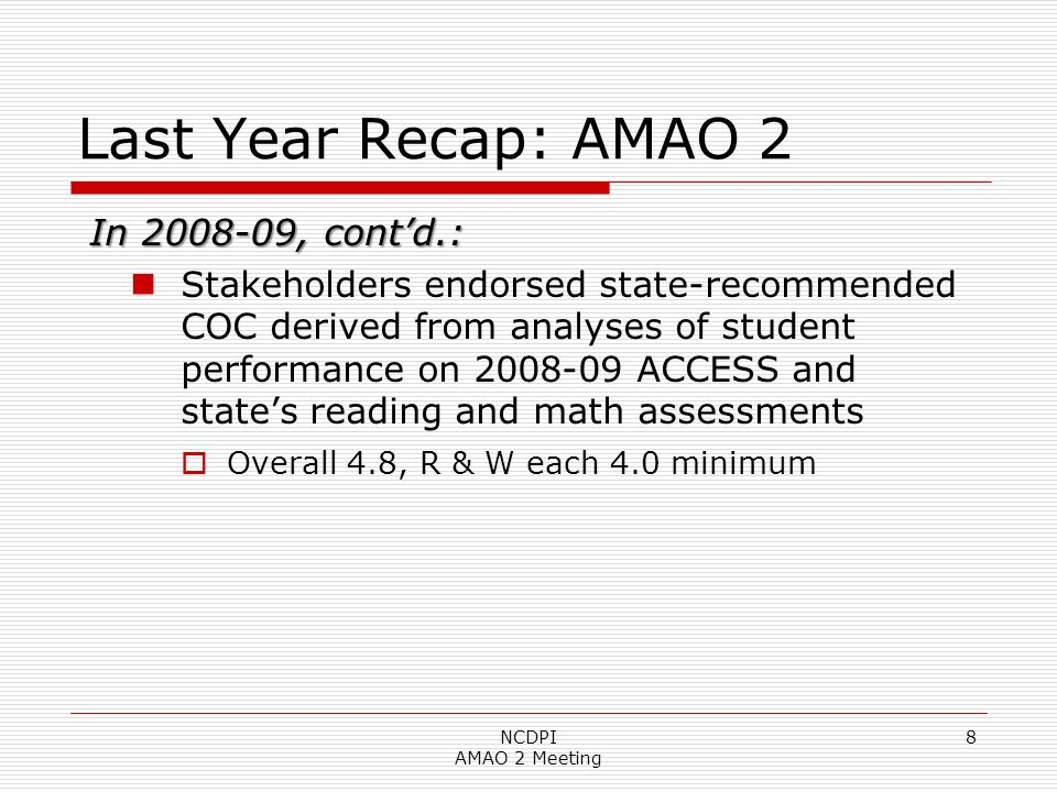 19 Comparing DC Analysis, 2009 to 2010: Math to ACCESS, Grades 3-5 NCDPI AMAO 2 Meeting