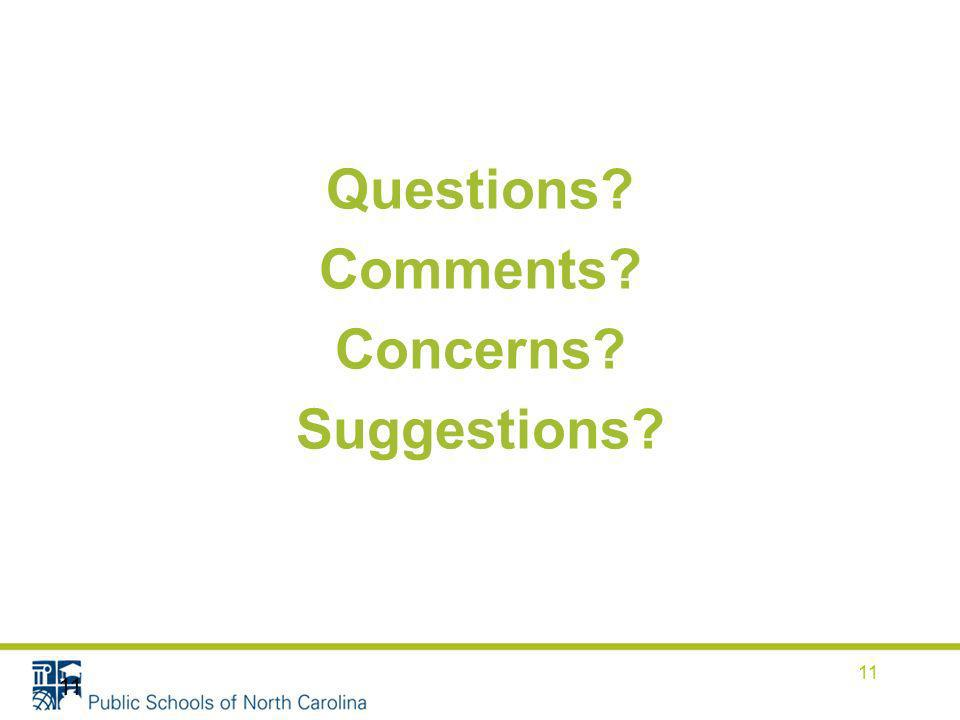 Questions? Comments? Concerns? Suggestions? 11