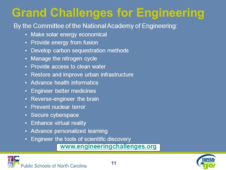 11 Grand Challenges for Engineering By the Committee of the National Academy of Engineering: Make solar energy economical Provide energy from fusion Develop carbon sequestration methods Manage the nitrogen cycle Provide access to clean water Restore and improve urban infrastructure Advance health informatics Engineer better medicines Reverse-engineer the brain Prevent nuclear terror Secure cyberspace Enhance virtual reality Advance personalized learning Engineer the tools of scientific discovery www.engineeringchallenges.org