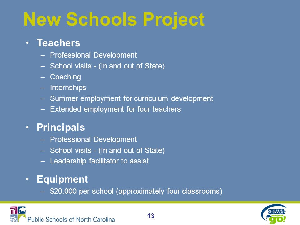 13 New Schools Project Teachers –Professional Development –School visits - (In and out of State) –Coaching –Internships –Summer employment for curriculum development –Extended employment for four teachers Principals –Professional Development –School visits - (In and out of State) –Leadership facilitator to assist Equipment –$20,000 per school (approximately four classrooms)