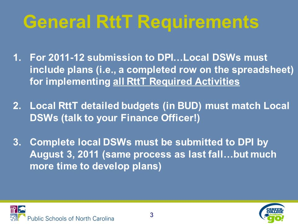 3 General RttT Requirements 1.For 2011-12 submission to DPI…Local DSWs must include plans (i.e., a completed row on the spreadsheet) for implementing all RttT Required Activities 2.Local RttT detailed budgets (in BUD) must match Local DSWs (talk to your Finance Officer!) 3.Complete local DSWs must be submitted to DPI by August 3, 2011 (same process as last fall…but much more time to develop plans)
