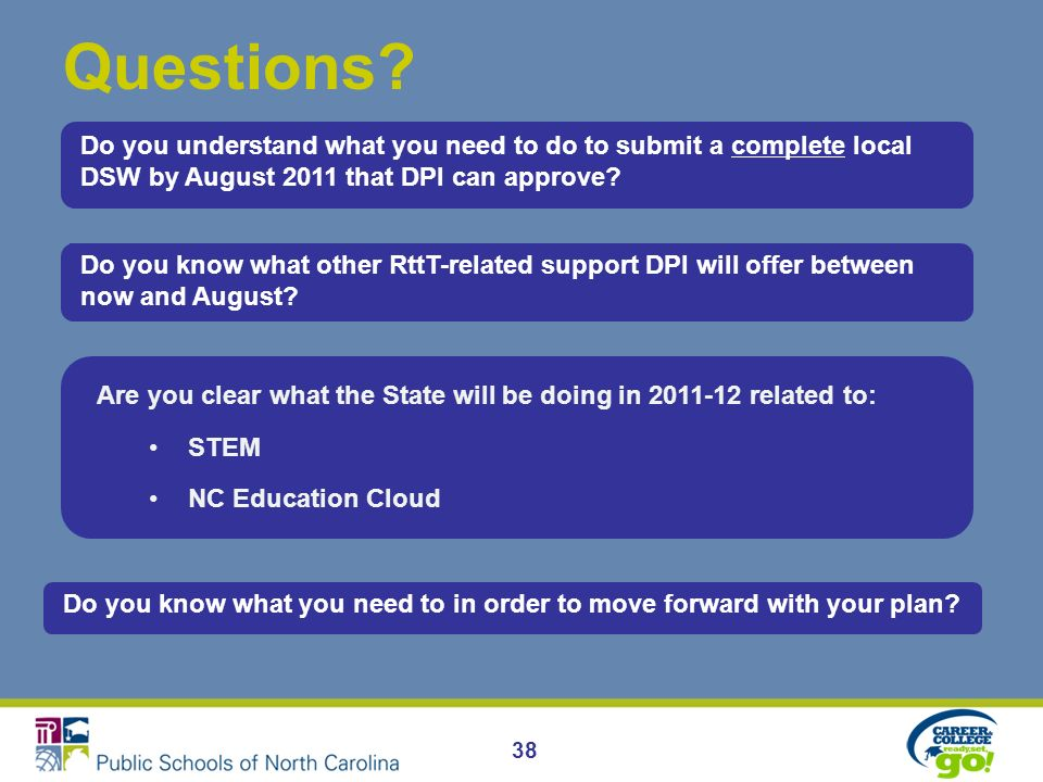 38 Questions? Do you know what other RttT-related support DPI will offer between now and August? Are you clear what the State will be doing in 2011-12