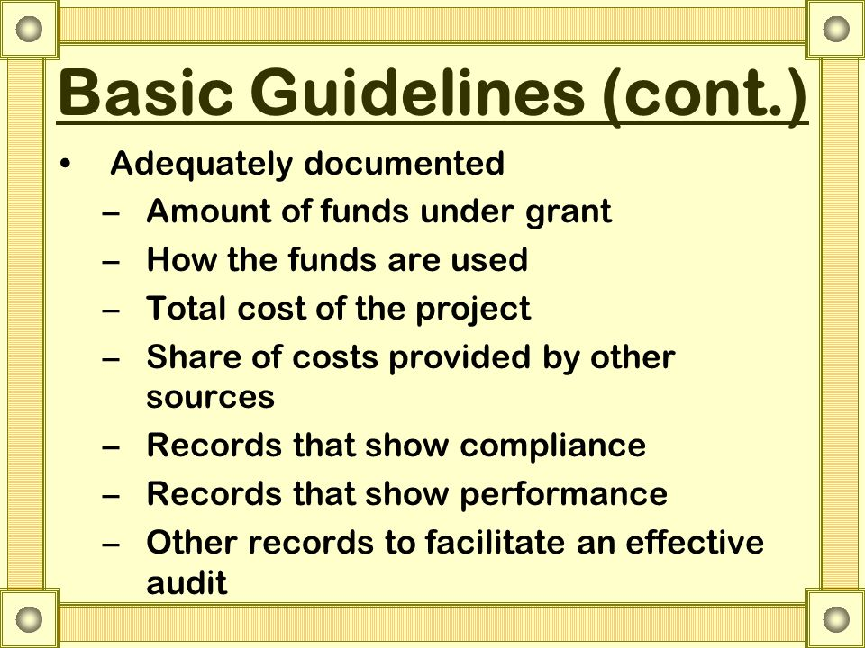 Basic Guidelines (cont.) Adequately documented –Amount of funds under grant –How the funds are used –Total cost of the project –Share of costs provided by other sources –Records that show compliance –Records that show performance –Other records to facilitate an effective audit