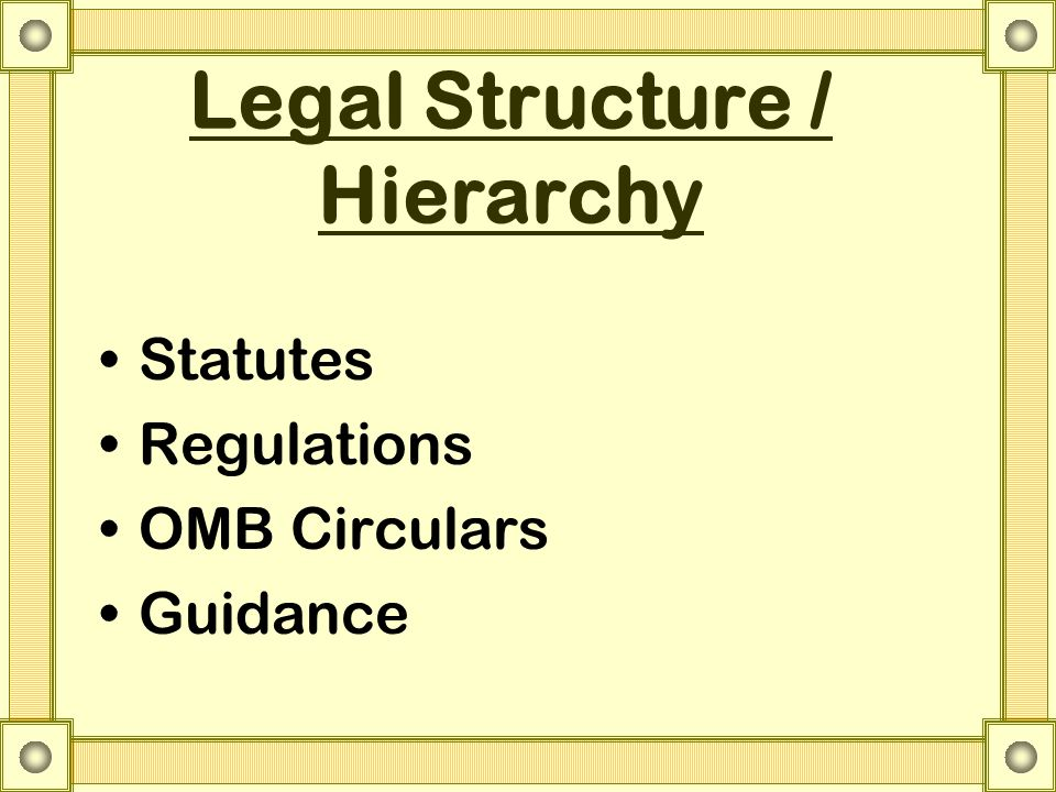 Legal Structure / Hierarchy Statutes Regulations OMB Circulars Guidance