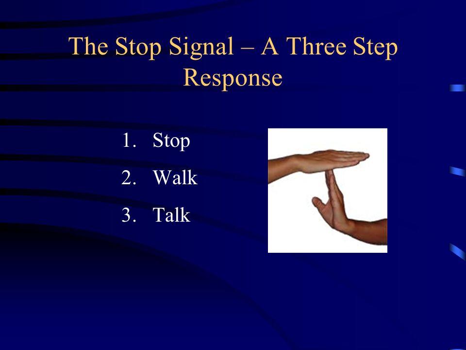 The Stop Signal – A Three Step Response 1.Stop 2.Walk 3.Talk