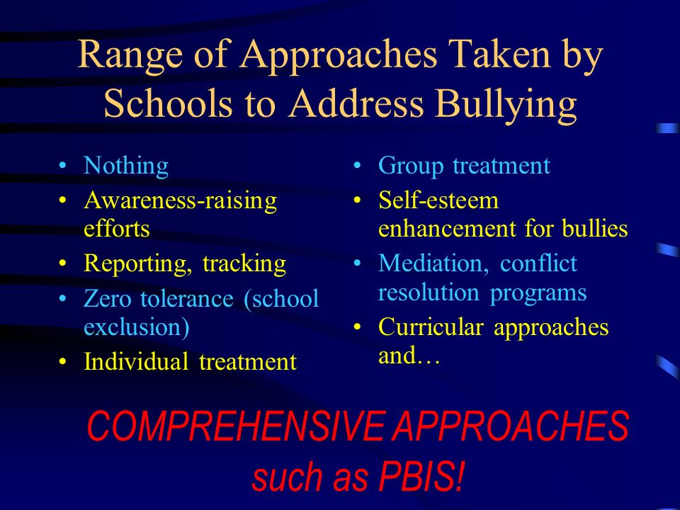 PBIS and Bullying Principles It is critical to develop a school climate that: Is supportive of racial, cultural, and other forms of diversity Is warm Has clear expectations for students and staff that are taught and reinforced Has consequences for unacceptable behavior Has positive interest Has involvement from adults Addresses hate crimes and conflicts in school and the community