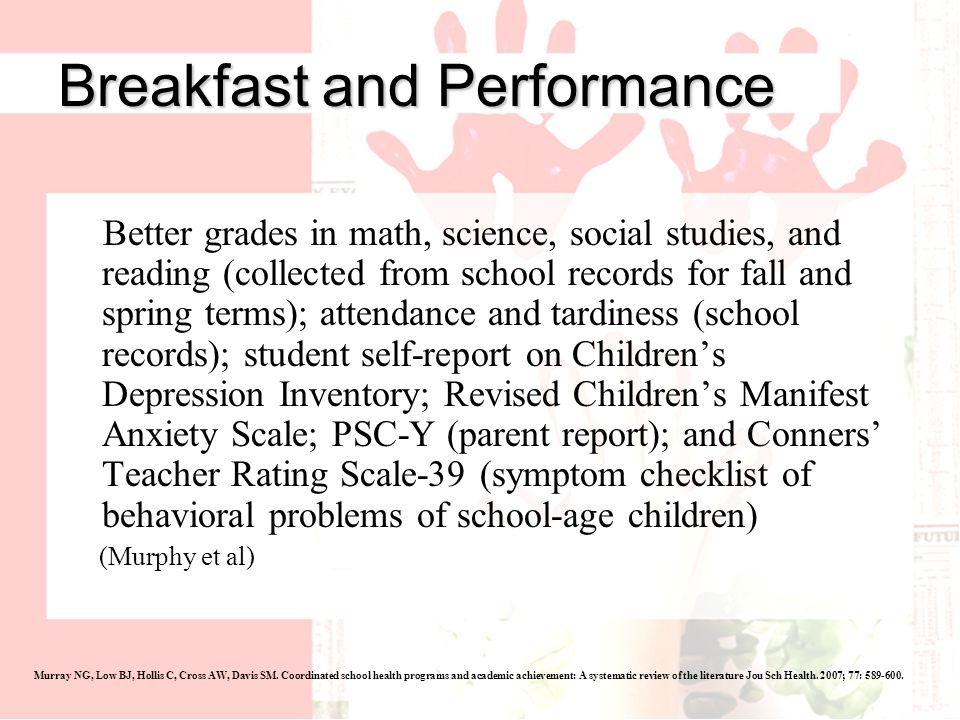 Murray NG, Low BJ, Hollis C, Cross AW, Davis SM. Coordinated school health programs and academic achievement: A systematic review of the literature Jo