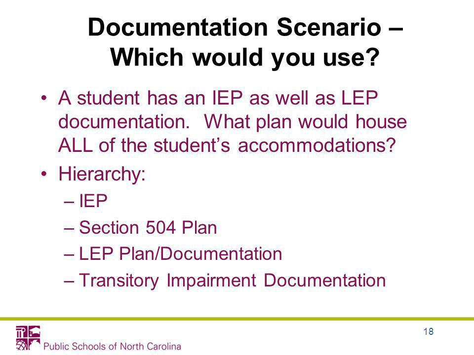 A student has an IEP as well as LEP documentation. What plan would house ALL of the students accommodations? Hierarchy: –IEP –Section 504 Plan –LEP Pl